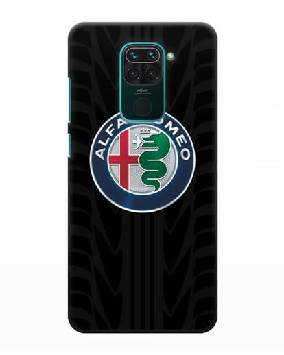 Чехол с эмблемой Alfa Romeo с протектором шин силикон черный для Xiaomi Redmi Note 9
