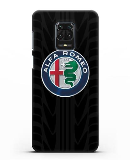 Чехол с эмблемой Alfa Romeo с протектором шин силикон черный для Xiaomi Redmi Note 9 Pro