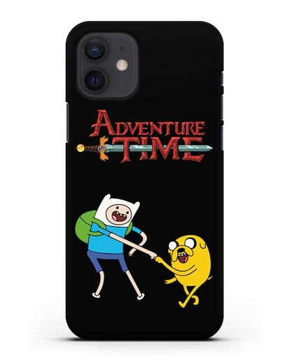 Чехол Фин и Джейк и надпись Adventure Time силикон черный для iPhone 12