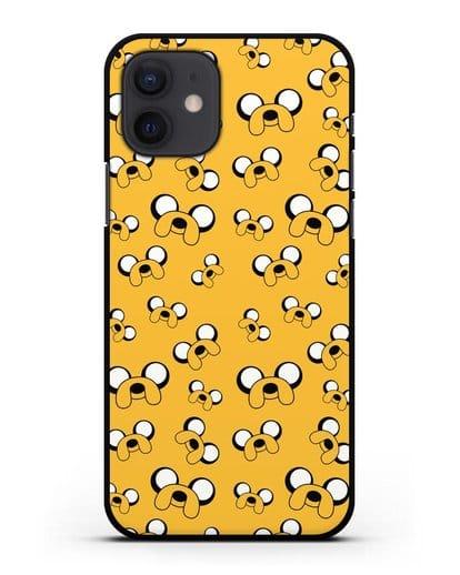 Чехол Джейк Adventure Time силикон черный для iPhone 12