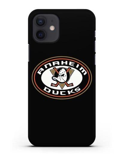 Чеxол с логотипом Anaheim Ducks силикон черный для iPhone 12