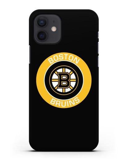 Чеxол с логотипом Boston Bruins силикон черный для iPhone 12