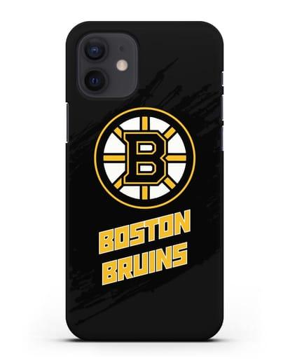 Чехол с надписью ХК Бостон Брюинз силикон черный для iPhone 12