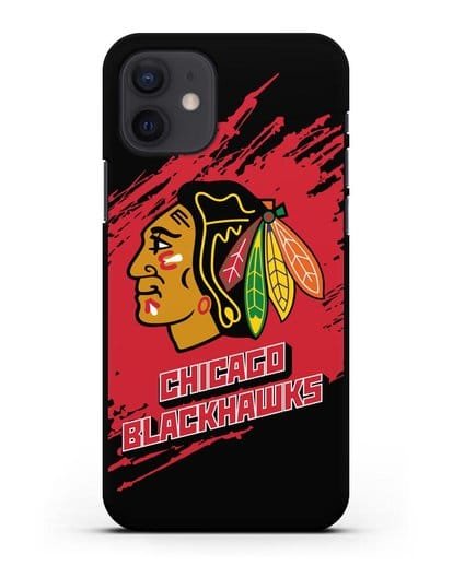 Чехол с надписью ХК Чикаго Блэкхокс силикон черный для iPhone 12