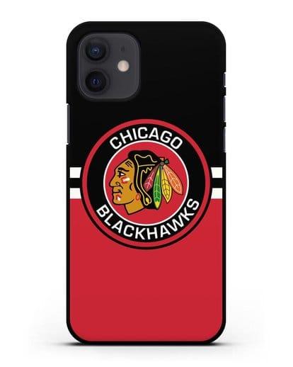 Чехол с символикой Chicago Blackhawks силикон черный для iPhone 12