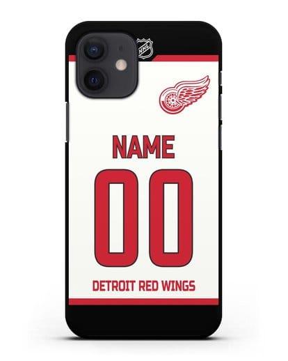 Чехол ХК Детройт Ред Уингз с фамилией и номером белая форма силикон черный для iPhone 12