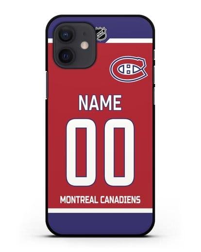 Чехол ХК Монреаль Канадиенс с фамилией и номером красная форма силикон черный для iPhone 12