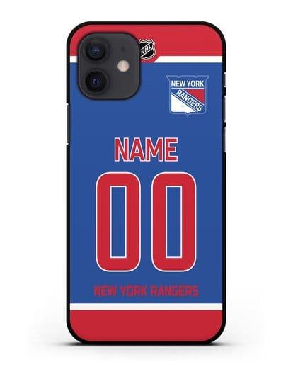 Чехол ХК Нью-Йорк Рейнджерс с фамилией и номером синяя форма силикон черный для iPhone 12