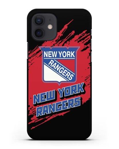 Чехол с надписью ХК Нью-Йорк Рейнджерс силикон черный для iPhone 12
