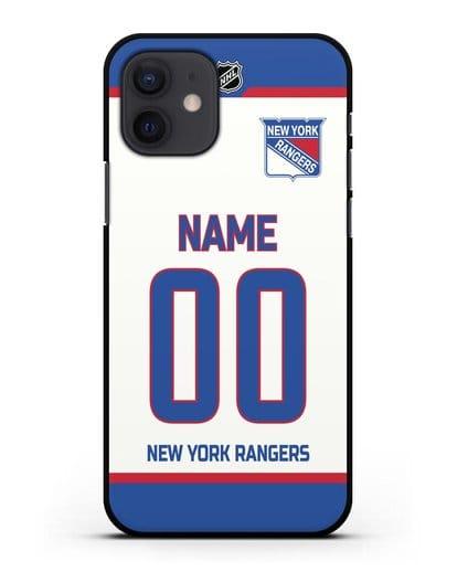 Чехол ХК Нью-Йорк Рейнджерс с фамилией и номером белая форма силикон черный для iPhone 12