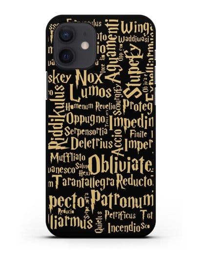 Чехол с заклинаниями из Гарри Поттера силикон черный для iPhone 12