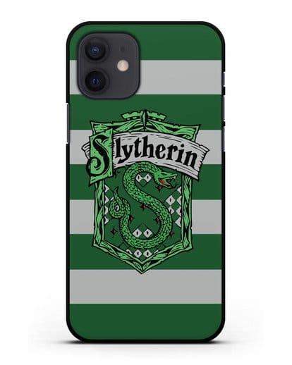 Чехол с гербом факультета Слизерин силикон черный для iPhone 12
