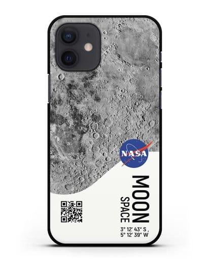 Чехол Луна с координатами силикон черный для iPhone 12