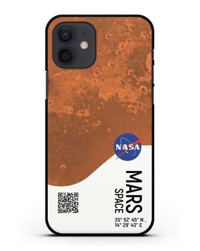 Чехол Марс с координатами силикон черный для iPhone 12