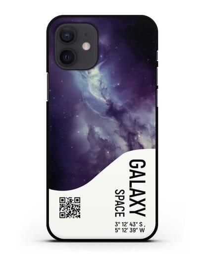 Чехол Галактика с координатами силикон черный для iPhone 12