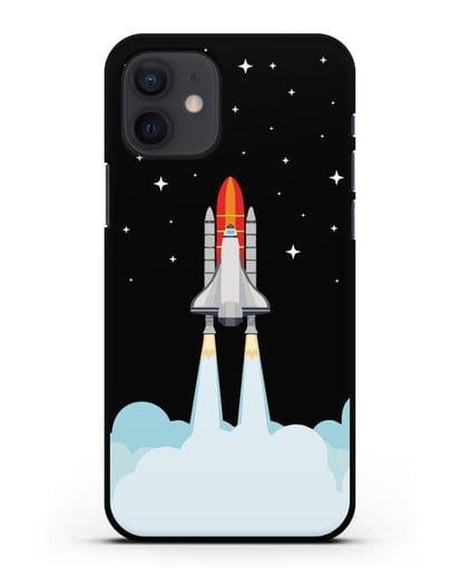 Чехол с иллюстрацией Спейс Шаттл силикон черный для iPhone 12