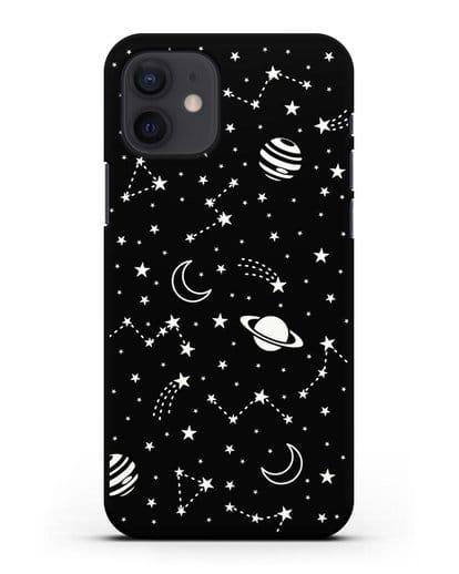Чехол с иллюстрацией Планеты силикон черный для iPhone 12