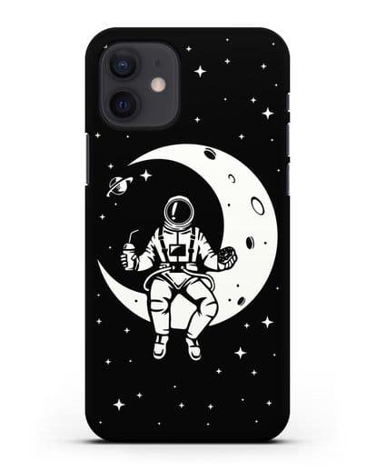 Чехол Космонавт на луне силикон черный для iPhone 12