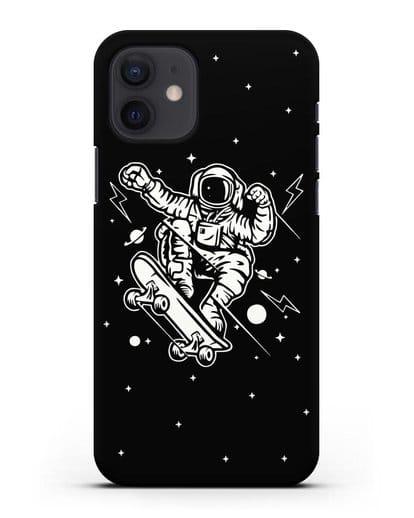 Чехол Космонавт на скейте силикон черный для iPhone 12