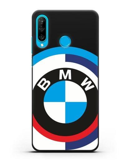 Чехол с логотипом BMW силикон черный для Huawei P30 Lite