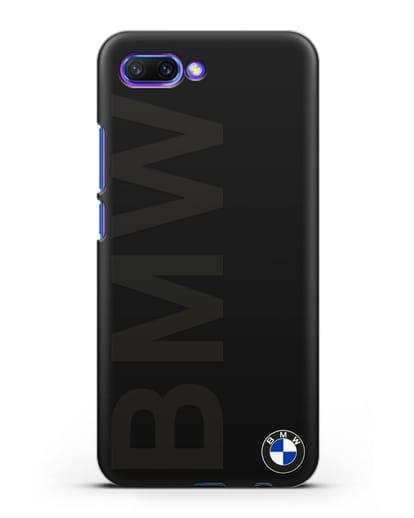 Чехол с надписью BMW и логотипом силикон черный для Honor 10