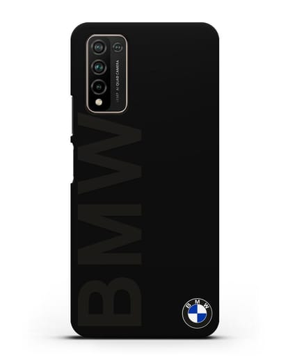 Чехол с надписью BMW и логотипом силикон черный для Honor 10X Lite
