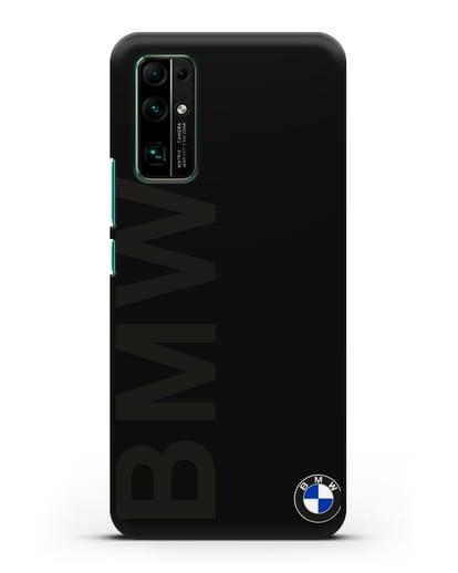 Чехол с надписью BMW и логотипом силикон черный для Honor 30