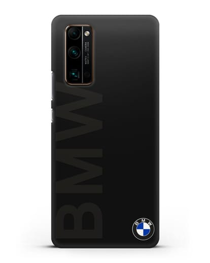 Чехол с надписью BMW и логотипом силикон черный для Honor 30 Pro