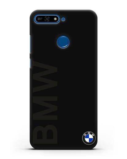 Чехол с надписью BMW и логотипом силикон черный для Honor 7А Pro