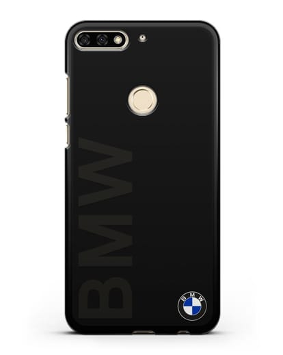 Чехол с надписью BMW и логотипом силикон черный для Honor 7C