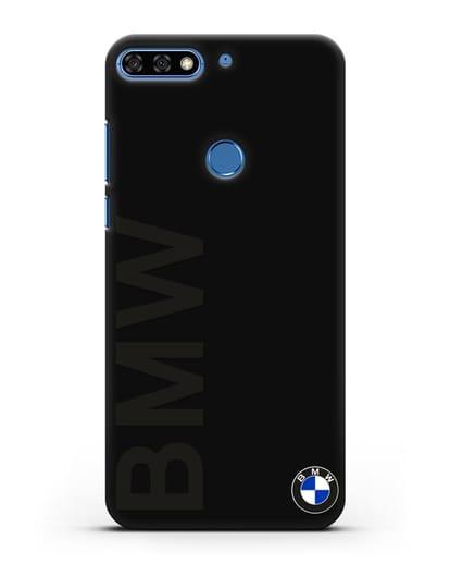 Чехол с надписью BMW и логотипом силикон черный для Honor 7C Pro
