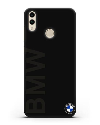 Чехол с надписью BMW и логотипом силикон черный для Honor 8C