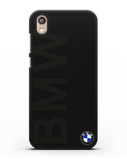 Чехол с надписью BMW и логотипом силикон черный для Honor 8S Prime