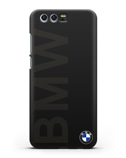 Чехол с надписью BMW и логотипом силикон черный для Honor 9
