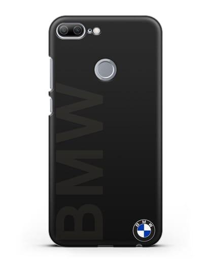 Чехол с надписью BMW и логотипом силикон черный для Honor 9 Lite