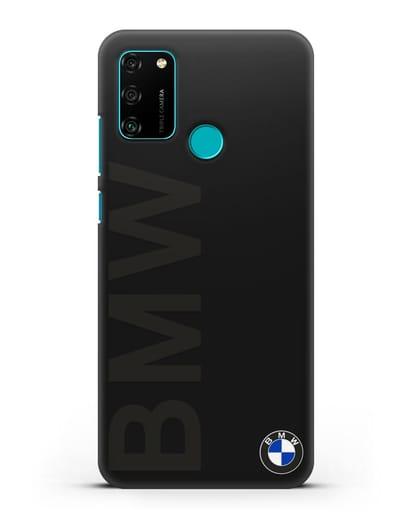 Чехол с надписью BMW и логотипом силикон черный для Honor 9A