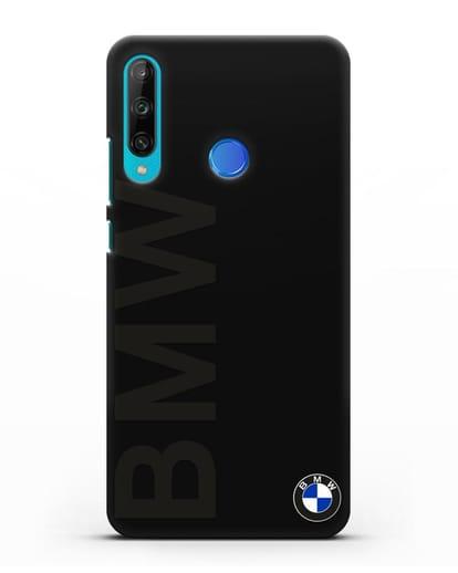 Чехол с надписью BMW и логотипом силикон черный для Honor 9C