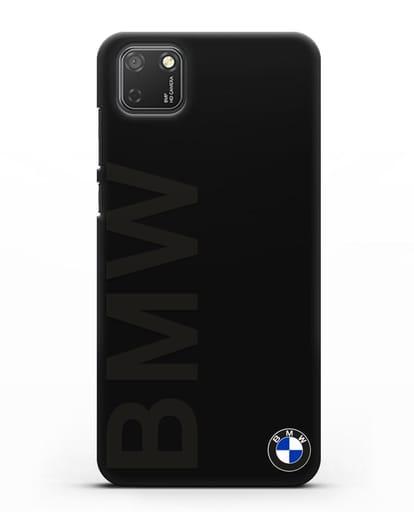 Чехол с надписью BMW и логотипом силикон черный для Honor 9S