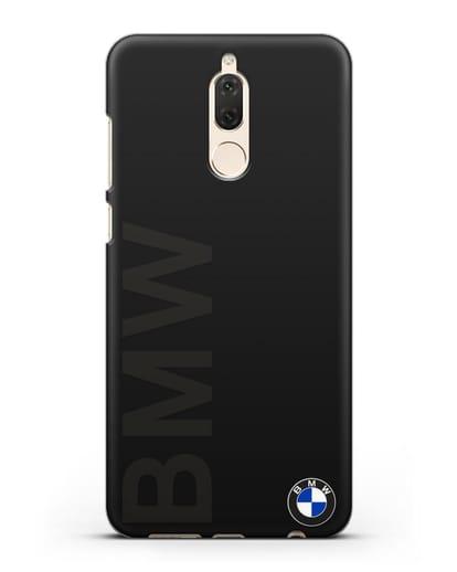 Чехол с надписью BMW и логотипом силикон черный для Huawei Mate 10 Lite