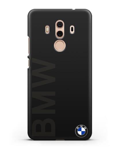 Чехол с надписью BMW и логотипом силикон черный для Huawei Mate 10 Pro