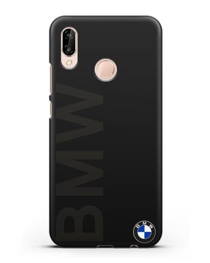Чехол с надписью BMW и логотипом силикон черный для Huawei P20 Lite