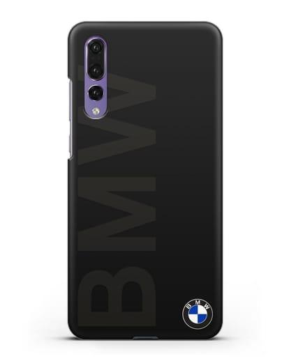 Чехол с надписью BMW и логотипом силикон черный для Huawei P20 Pro