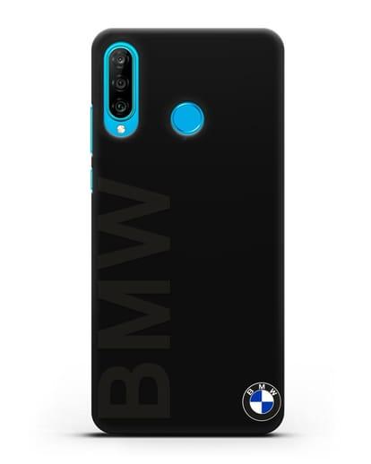 Чехол с надписью BMW и логотипом силикон черный для Huawei P30 Lite