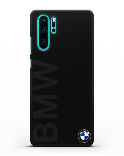 Чехол с надписью BMW и логотипом силикон черный для Huawei P30 Pro