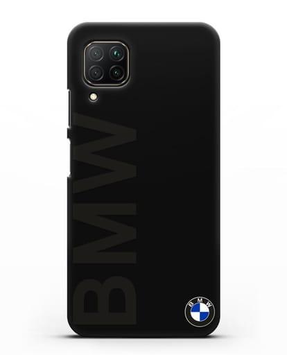 Чехол с надписью BMW и логотипом силикон черный для Huawei P40 lite