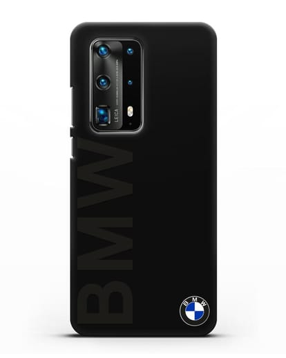 Чехол с надписью BMW и логотипом силикон черный для Huawei P40 Pro