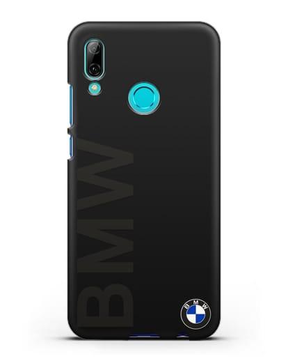 Чехол с надписью BMW и логотипом силикон черный для Huawei P Smart 2019