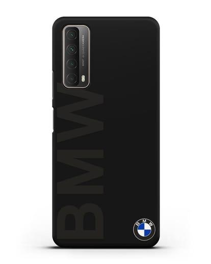 Чехол с надписью BMW и логотипом силикон черный для Huawei P Smart 2021