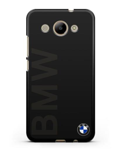 Чехол с надписью BMW и логотипом силикон черный для Huawei Y3 2017