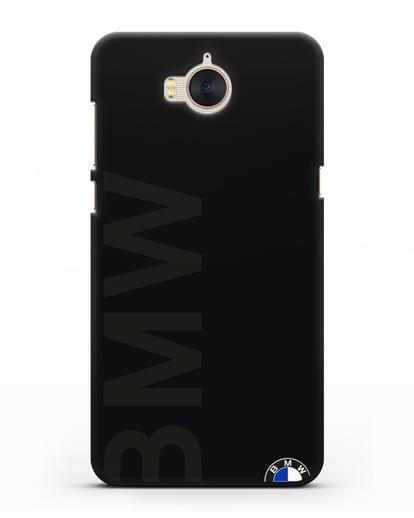 Чехол с надписью BMW и логотипом силикон черный для Huawei Y5 2017